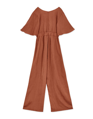 Flare Sleeve Pleated Cotton Linen Jumpsuit