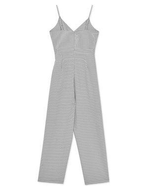 Shirred Plaid V-Neck Cami Jumpsuit