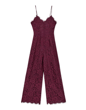 Eyelash Lace Cami Jumpsuit with Open Back