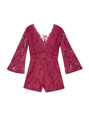 Floral Lace Eyelet Playsuit
