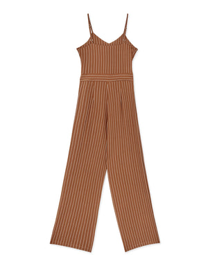 Front Knot Striped Cami Jumpsuit