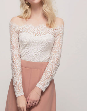 Off Shoulder Eyelash Lace Zipper Top