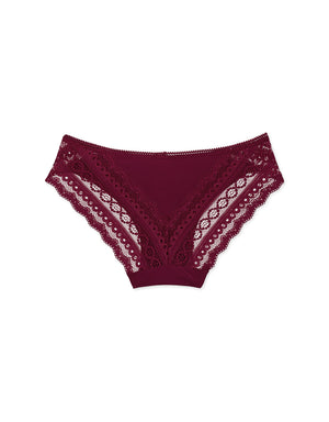 Lace Trim Ice Silk Brief Panty