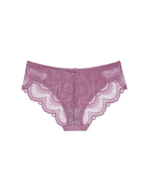 Floral Lace Splice Ice Silk Brief Panty