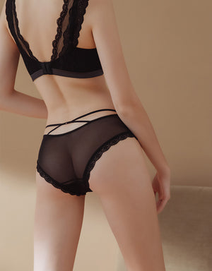 Lace Trim Transparent Mesh Brief Panty