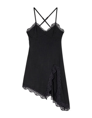 Lace Trim Cross Straps Cotton Split Slip