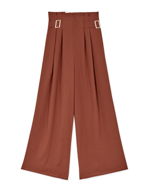 Metal Buckle High-rise Pleated Culottes