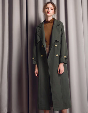 Tailored Double- breasted Long Belted Coat