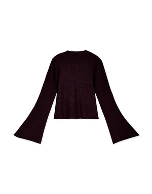 Trumpet Sleeve Knitted Cardigan