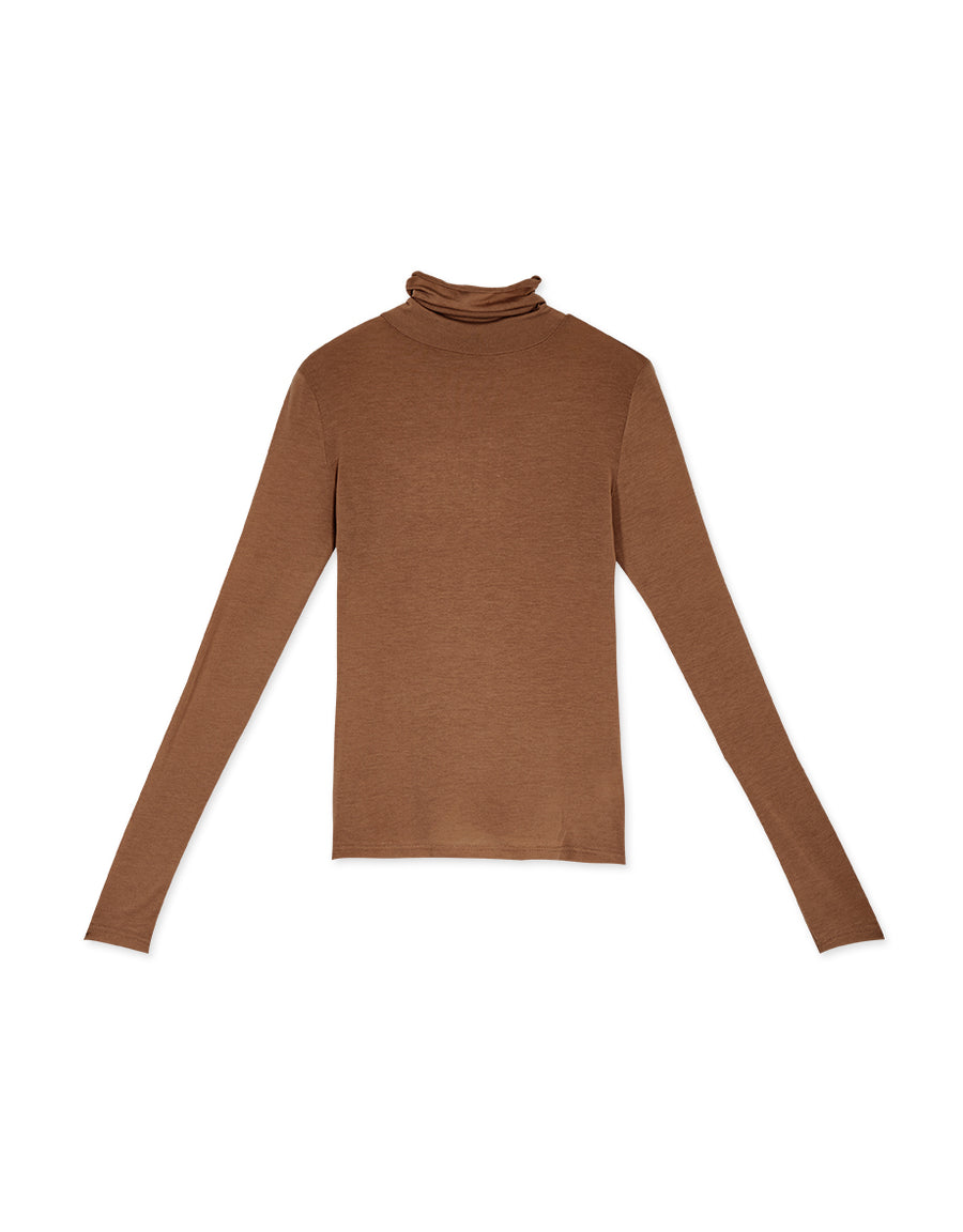 Polo Neck Cotton Long Sleeve Top