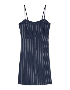 Striped Button Cotton Linen Cami Dress