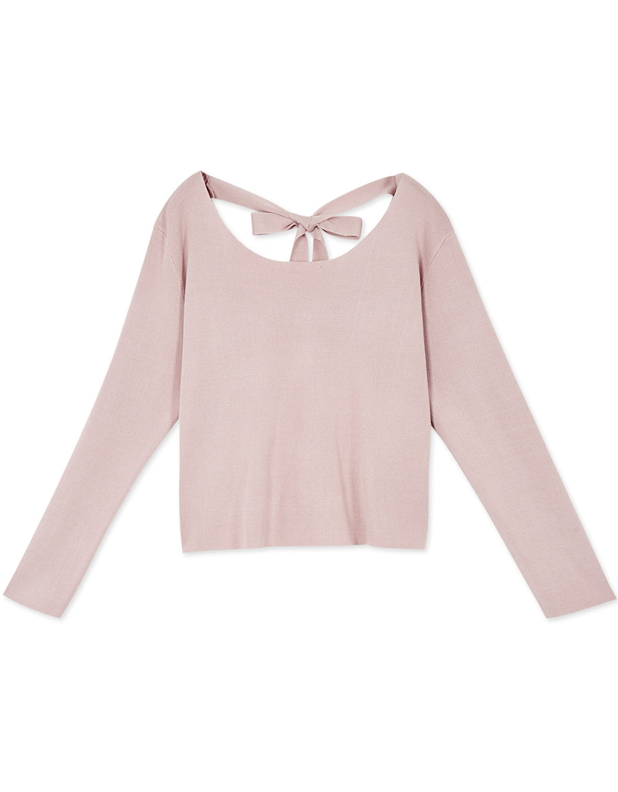 Back Ribbon Knitted Top