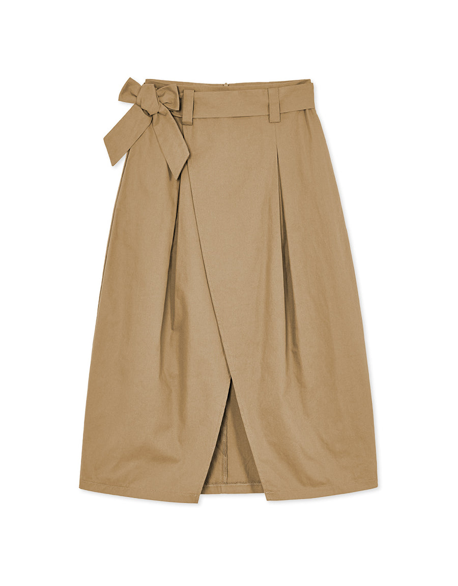 Crossover Split Midi Skirt with Belt