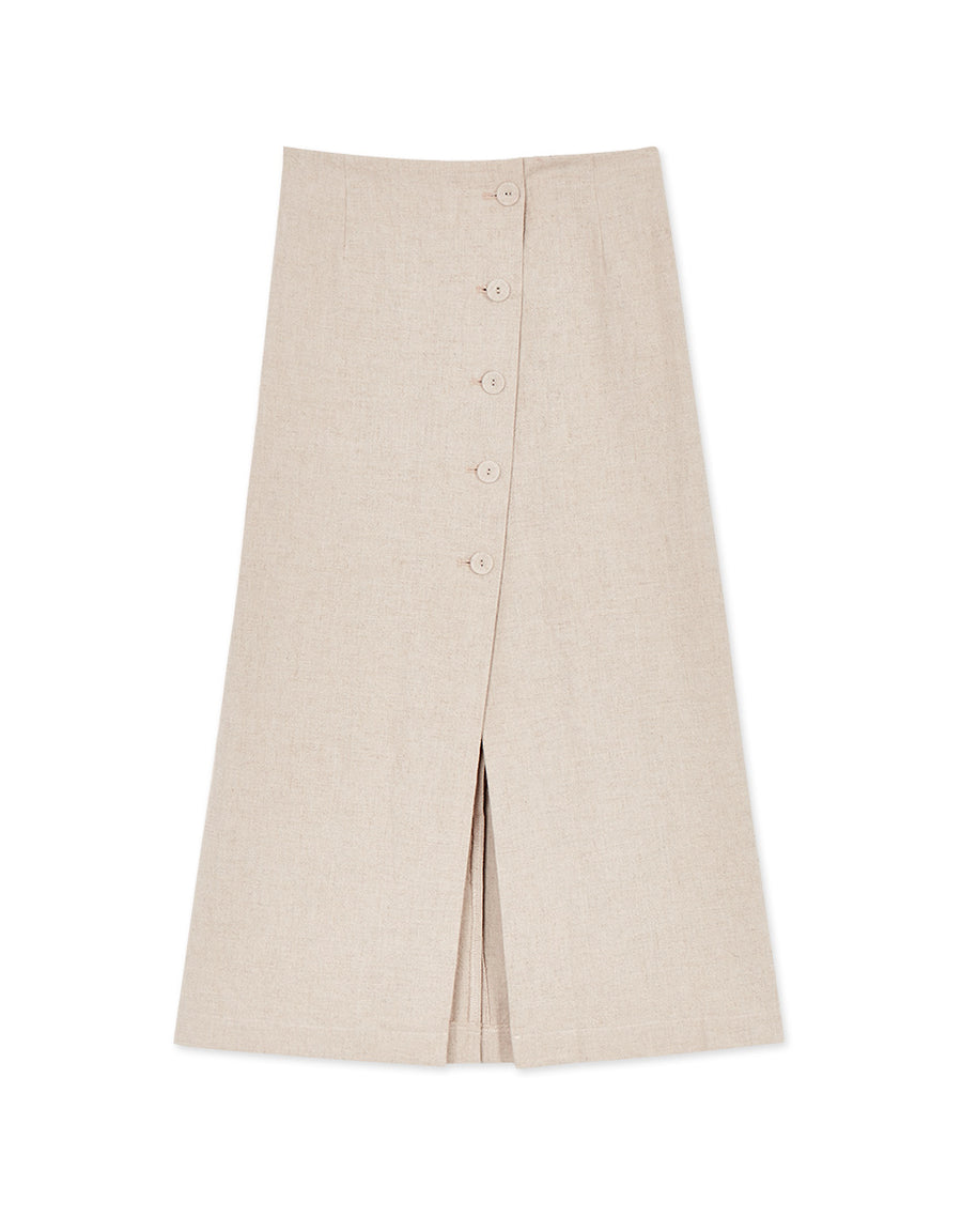 Front Split Button Up Midi Skirt