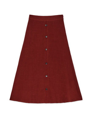 Freshened Button Cotton Linen Midi Skirt