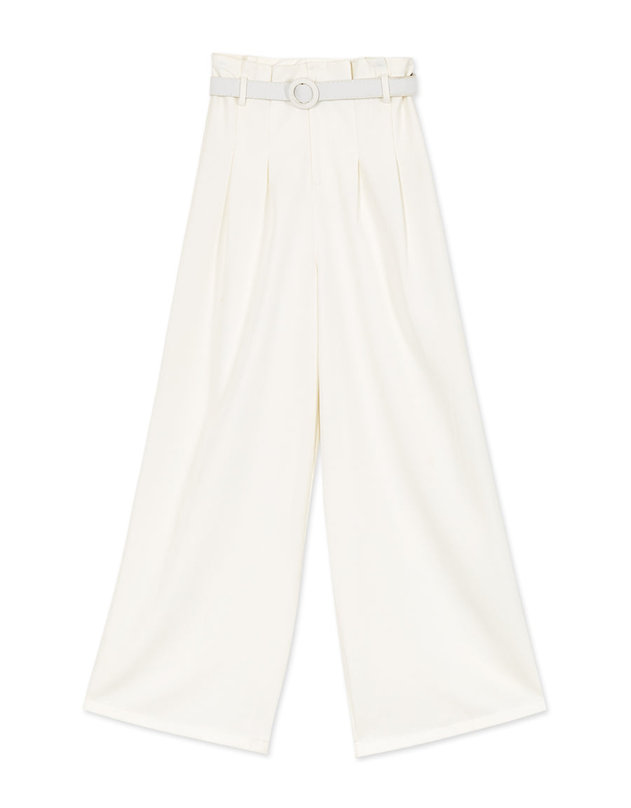 Texture High-waist Pleated Culottes with Belt
