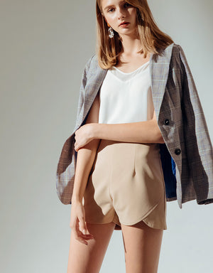 High Rise Shorts with Round Hem