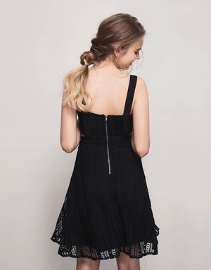 Wide Strap Crochet Lace Mini Dress
