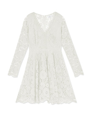Lace Jacquard V-neck Long Sleeve Flare Dress