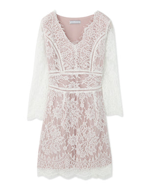 French Lace V Neck Dress
