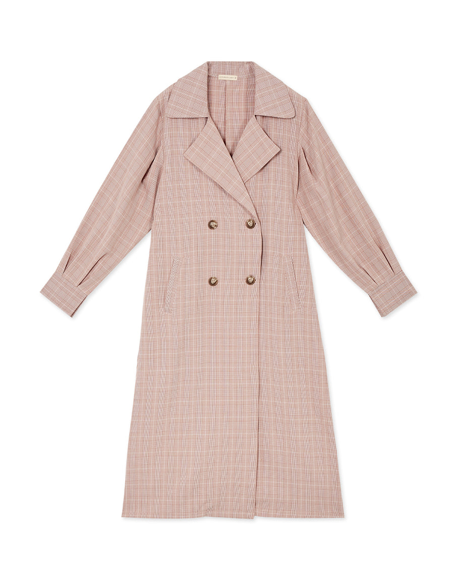 Double-breasted Plaid Belted Trench Coat