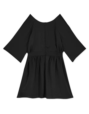 Cold Shoulder Keyhole Chiffon Dress