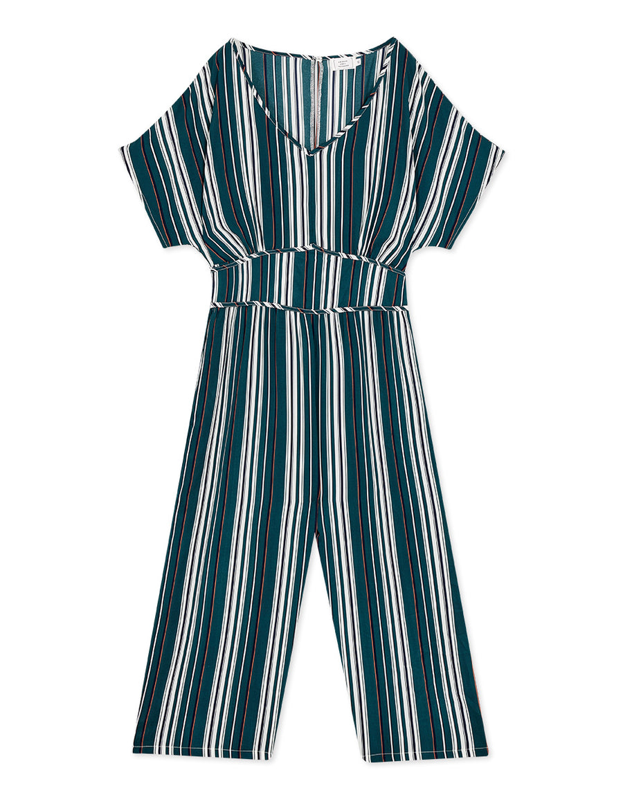 Leisure Contrast Striped Hollow Back Jumpsuit