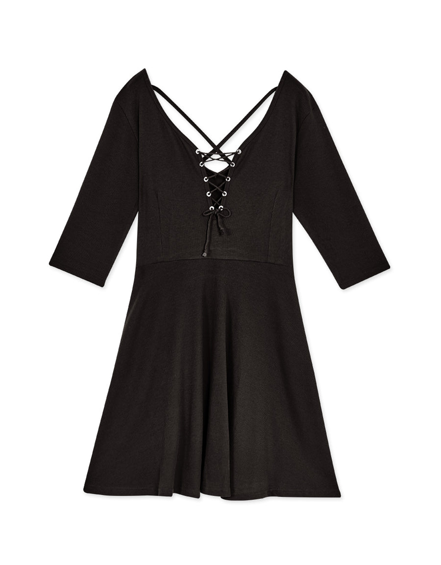 Cross Straps 3/4 Sleeve Flare Dress