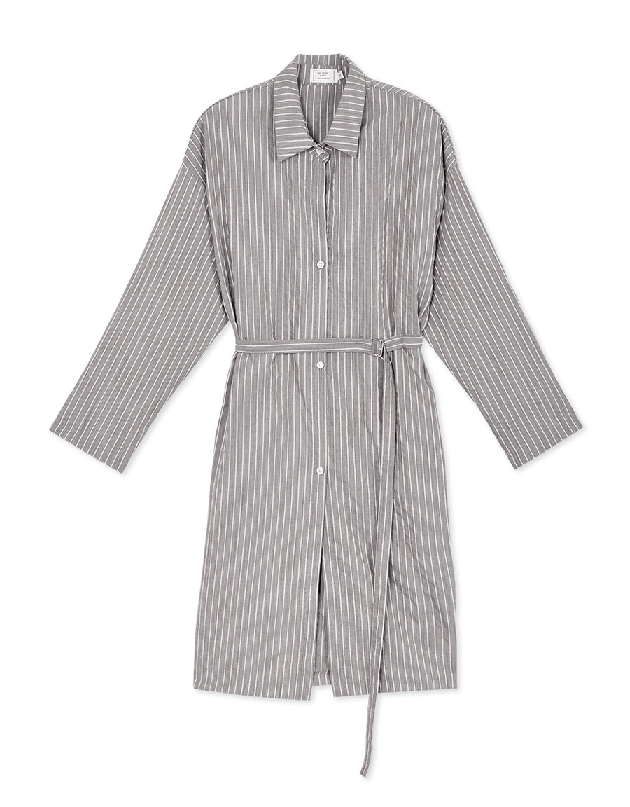 2WAY Cotton Striped Cardigan with Belt