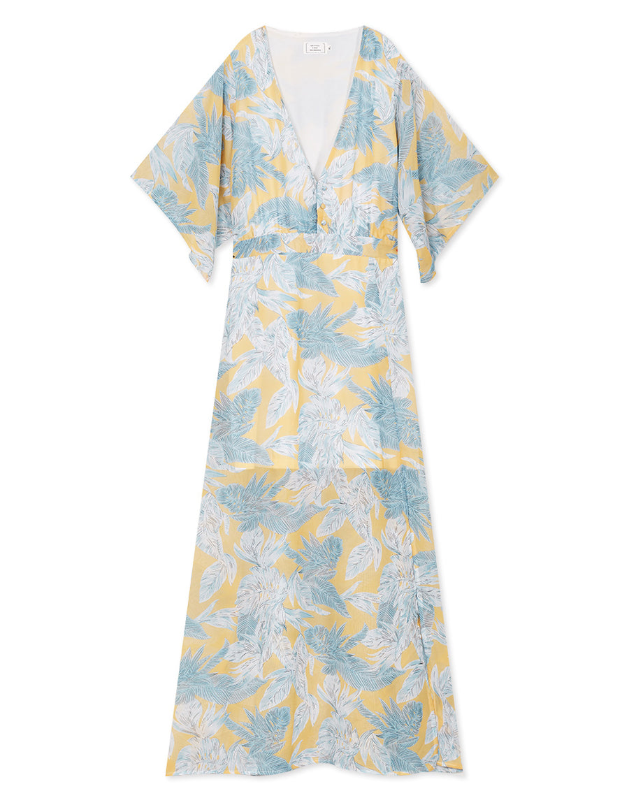 Leaf Print Chiffon Split Maxi Dress