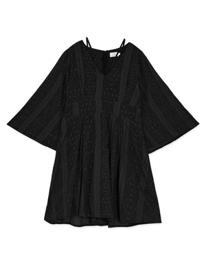 Trumpet Sleeve V Neck Broderie Dress