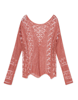 Hollow Knitted Long Sleeve Top