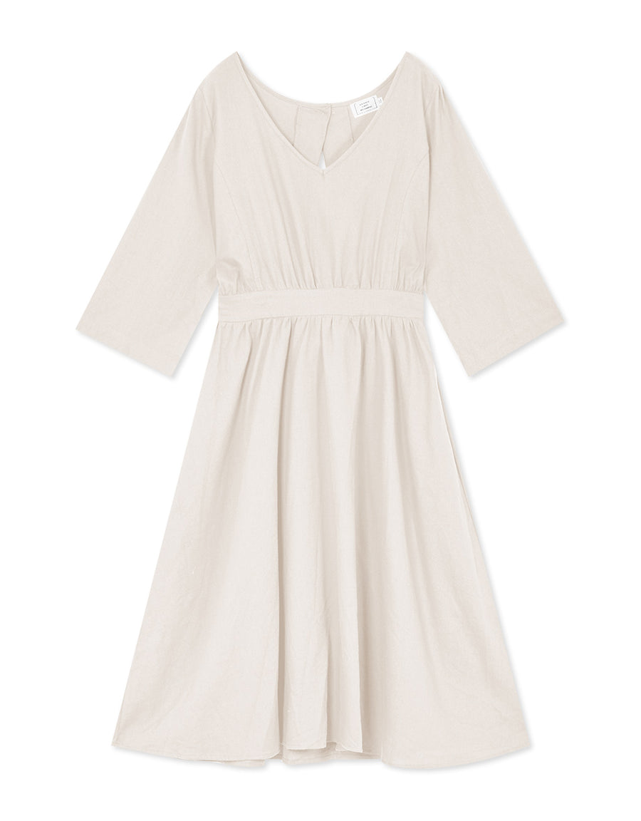 Elegant Hollow Back Cotton Linen Dress