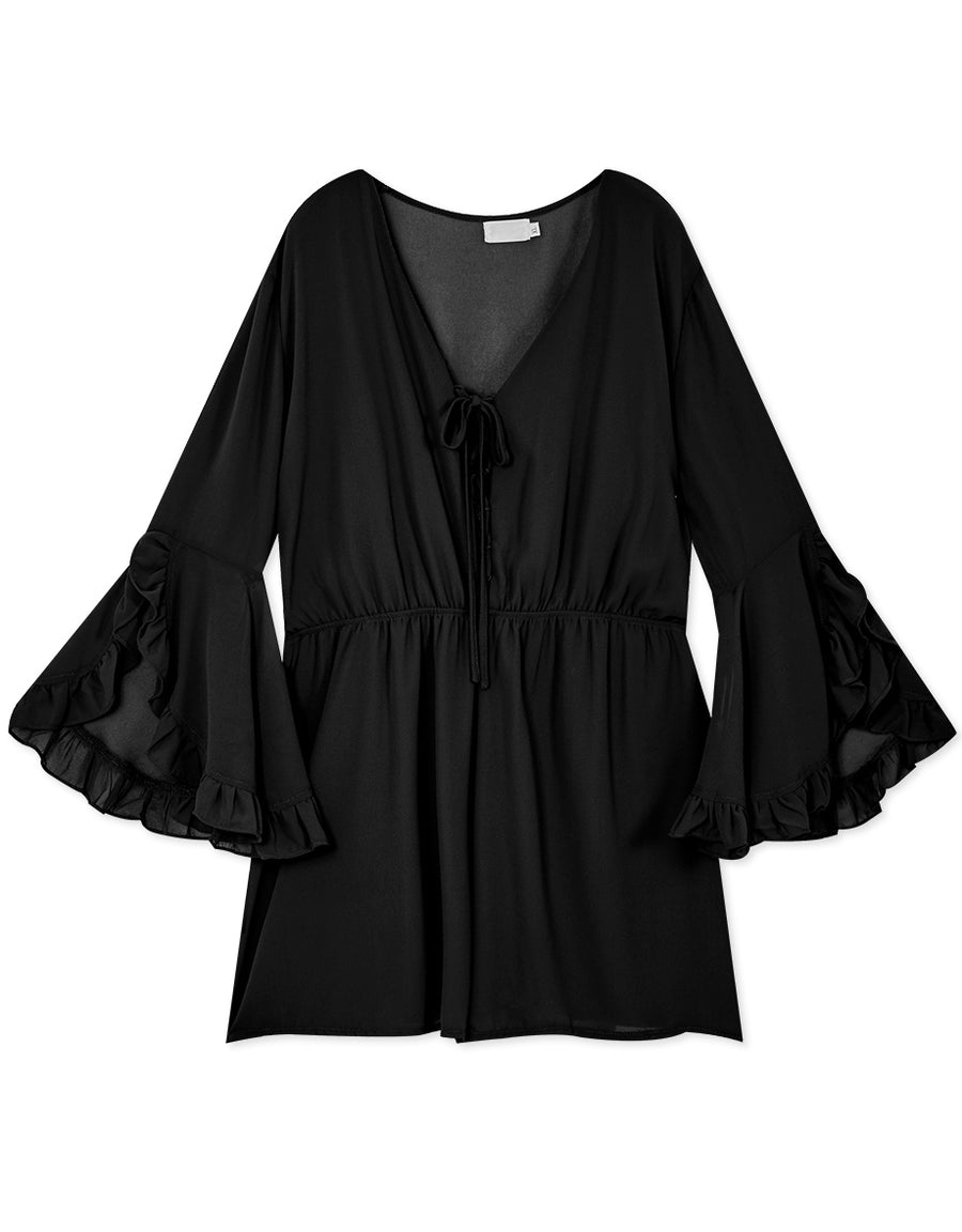 RUFFLE SLEEVE CROSS STRAPS CHIFFON PLAYSUIT