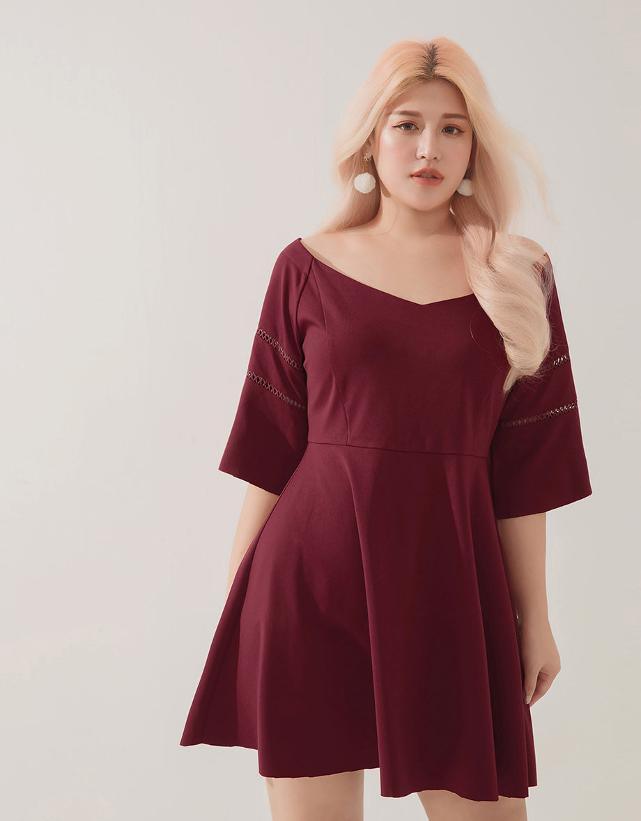 dc4bcbc4329 Textured Off Shoulder Eyelet Flare Dress - AIR SPACE