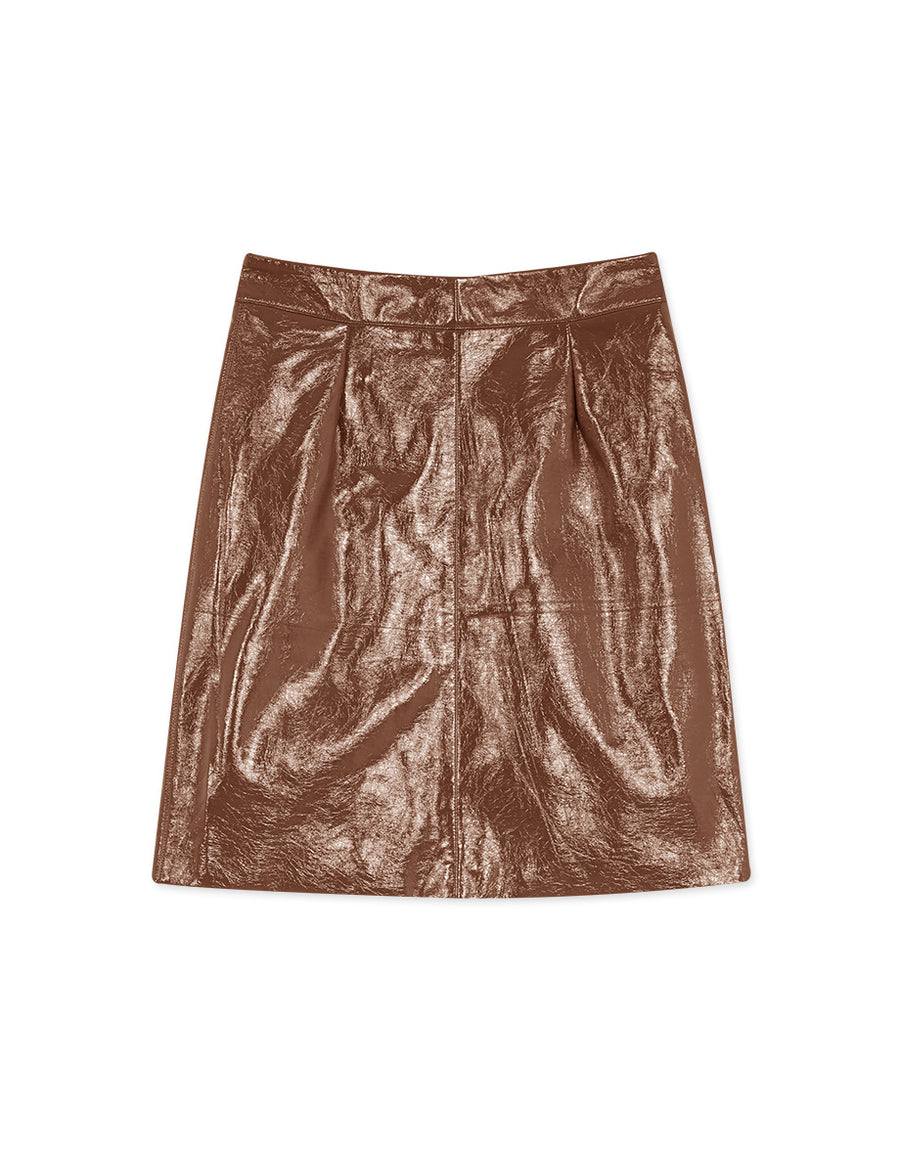 2WAY Casual Patent Leather Zipper Skirt