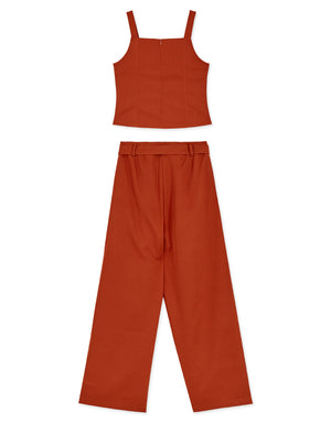 Tailored Sleeveless Set Wear with Belt