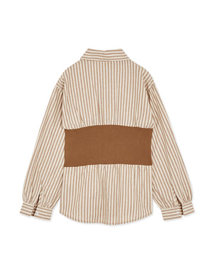 Knit Split Striped Cotton Blouse