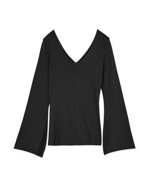 Wide Sleeve V-neck Twisted Top