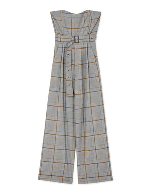 Casual Belted Plaid Bustier Tube Jumpsuit