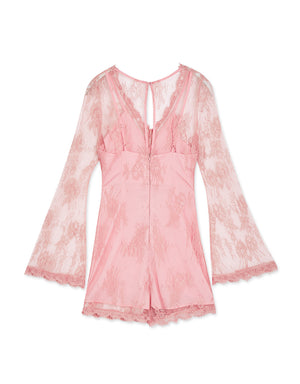 Fake-two-piece Broderie Playsuit
