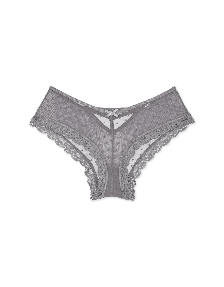 Hollow Back Dotted Mesh Brief Panty