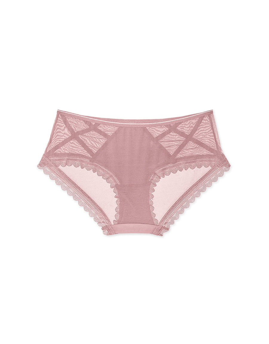 Cross Pattern Mesh Brief Panty