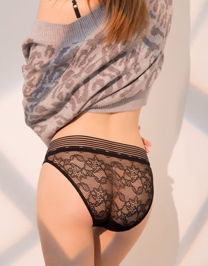 Layered Lace Mesh Brief Panty