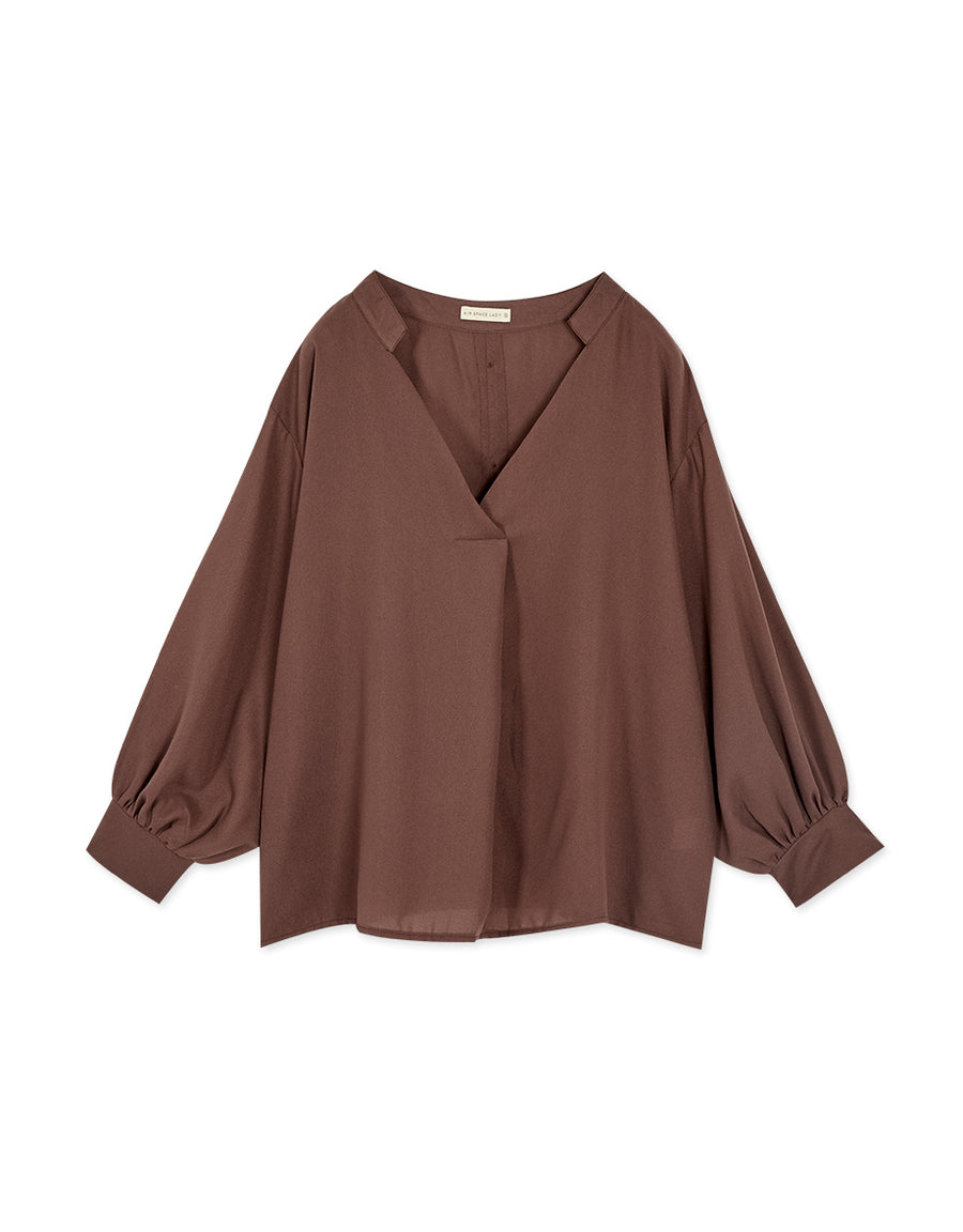 V-neck Balloon Sleeve Chiffon Top