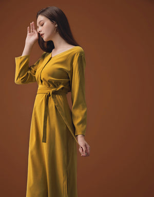 2WAY Cross V-neck Button Split Belted Dress