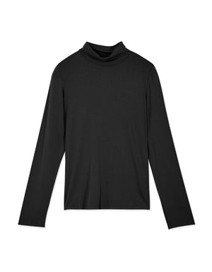 Basic Plain Turtleneck Cotton Top