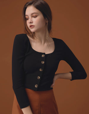 Amber Button Ribbed Crop Top