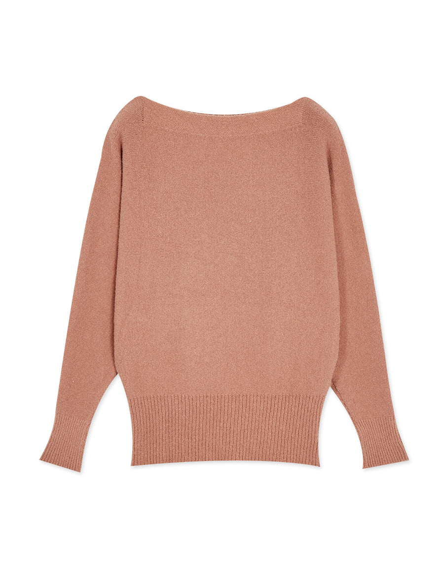 Off Shoulder Fit Cut Knit Top