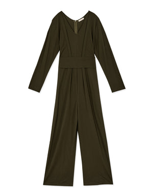 V-neck Lined Belted Cotton Jumpsuit